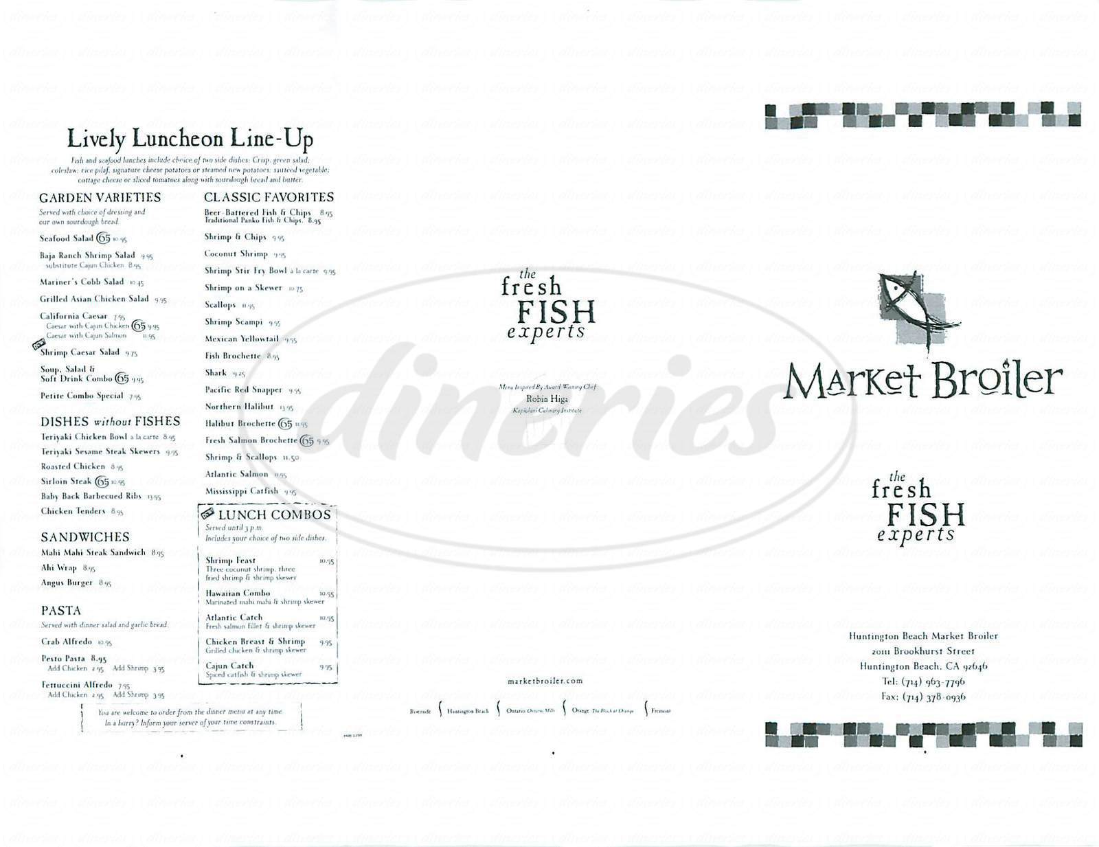menu for Market Broiler