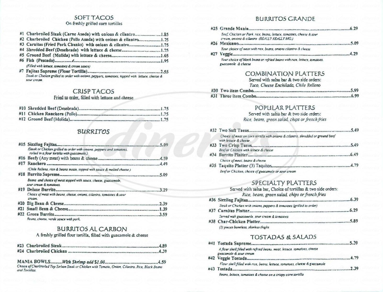 menu for OC Taco House