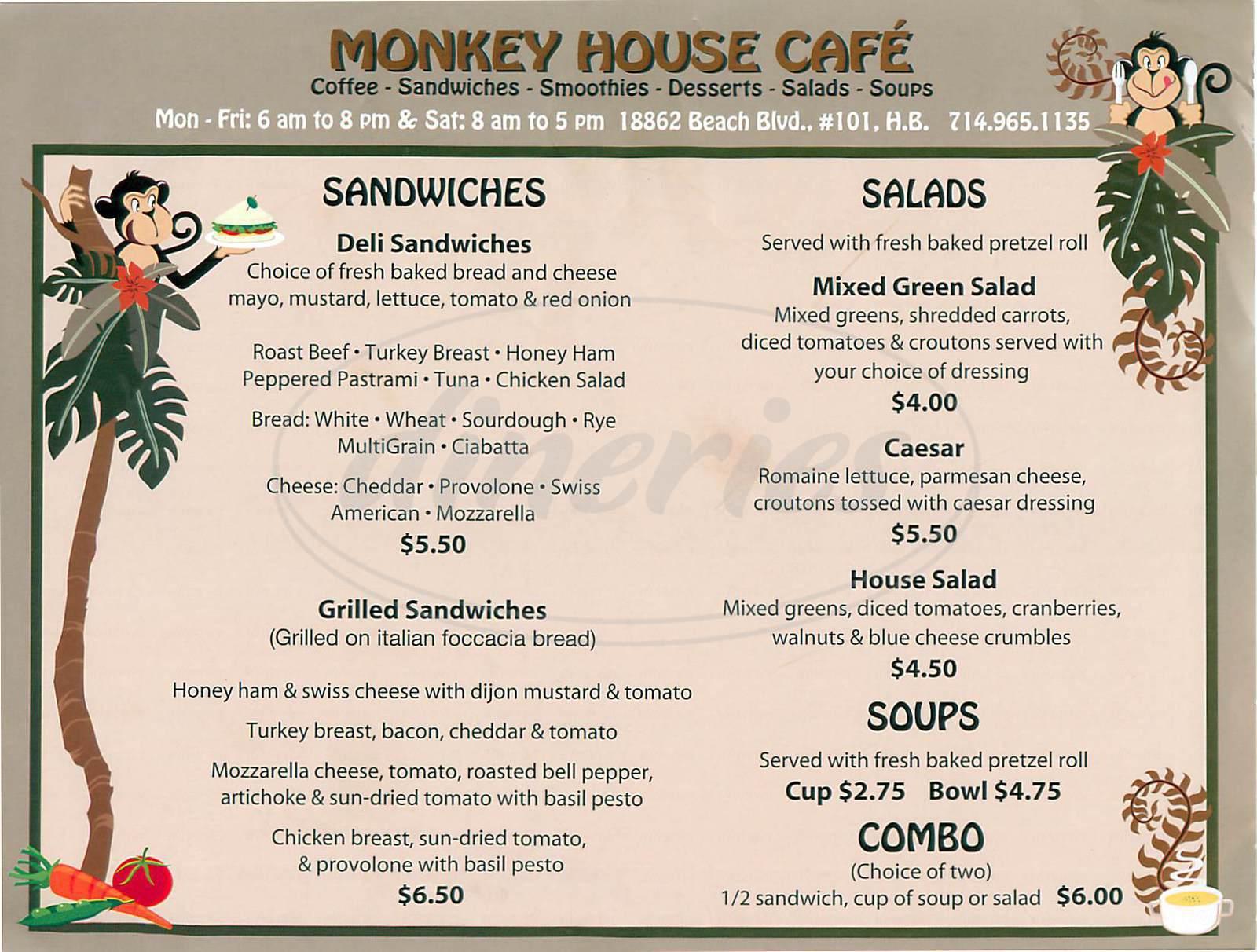 menu for Monkey House Café