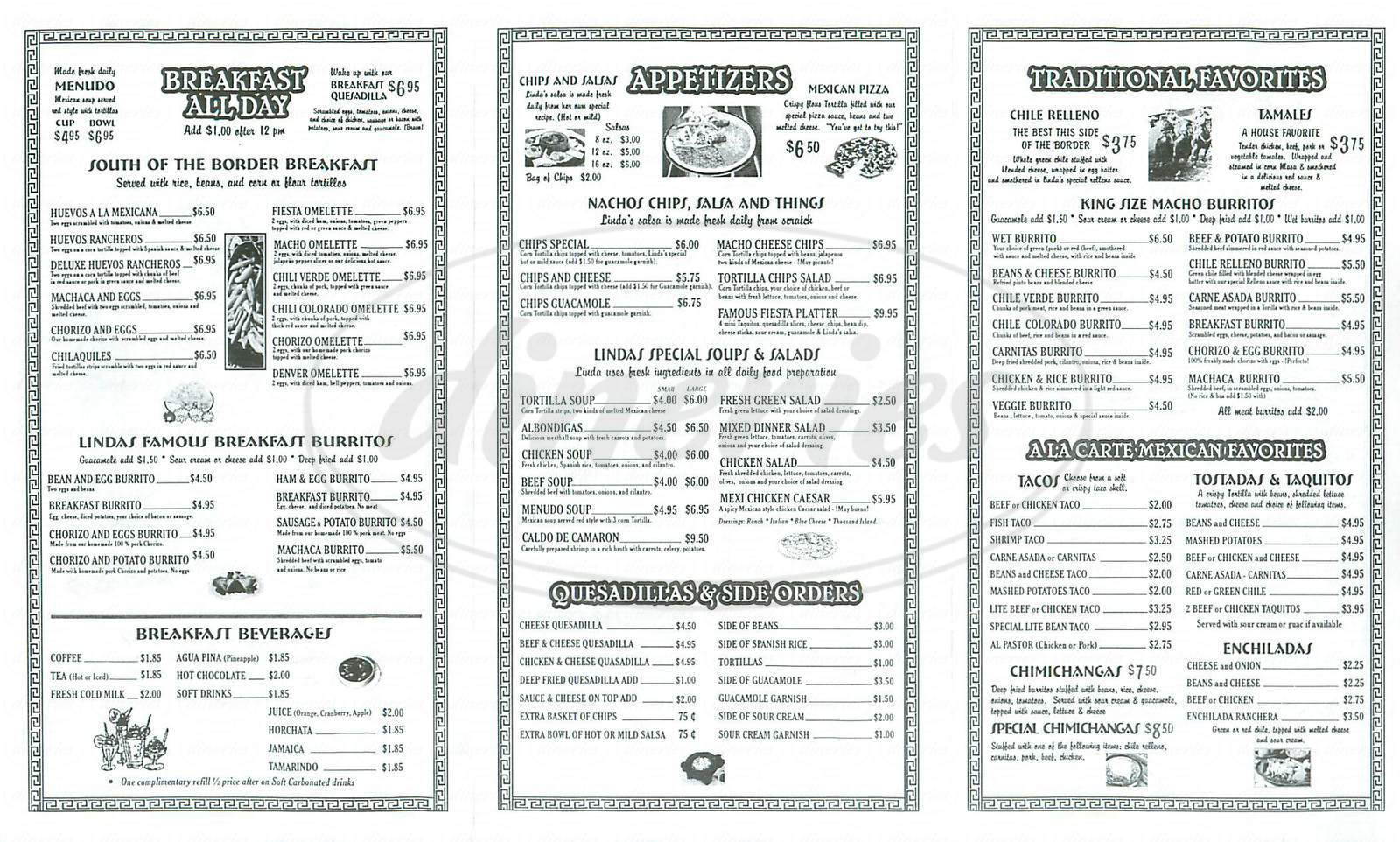 menu for Lindas Mexican Restaurant