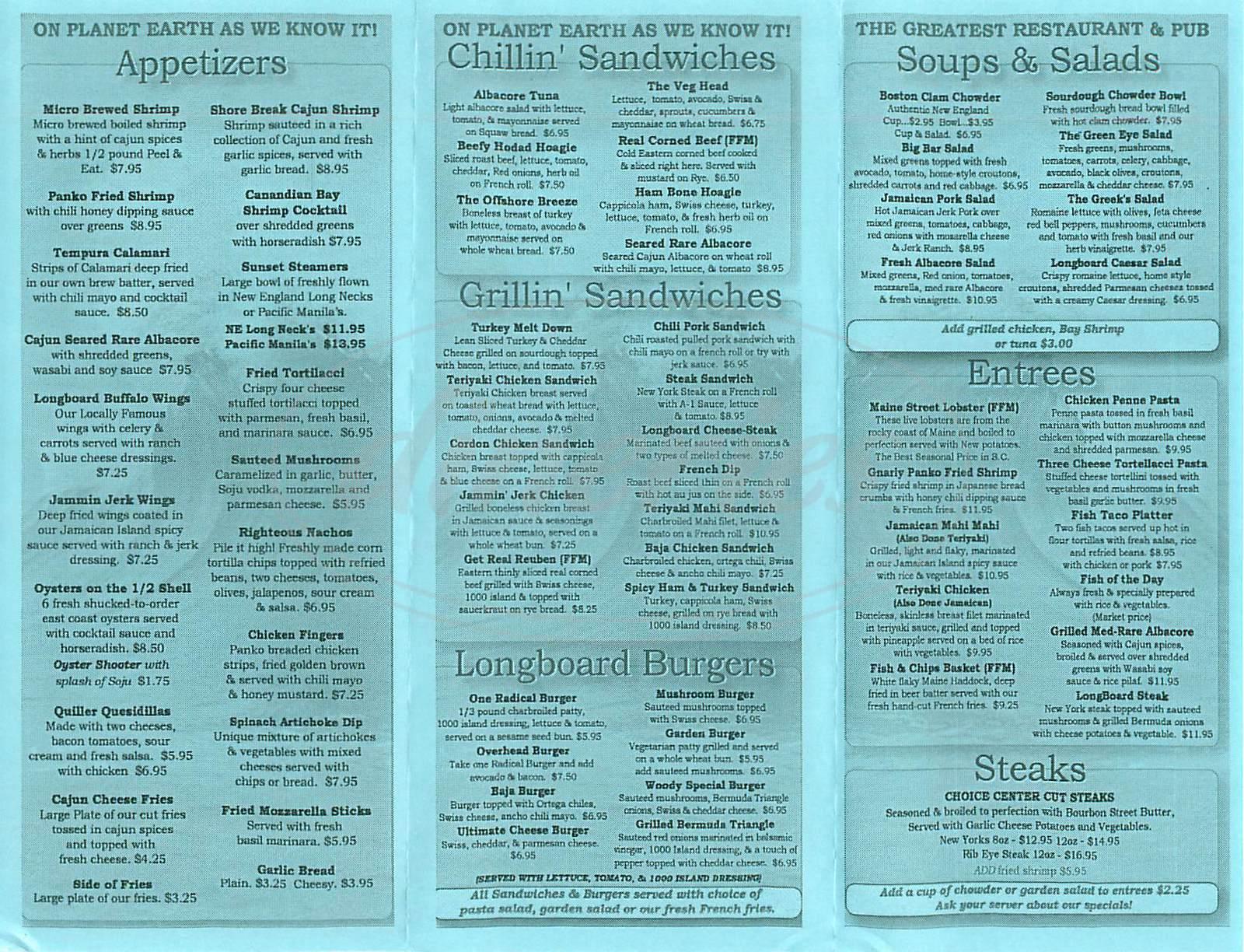 menu for Longboard Restaurant & Pub