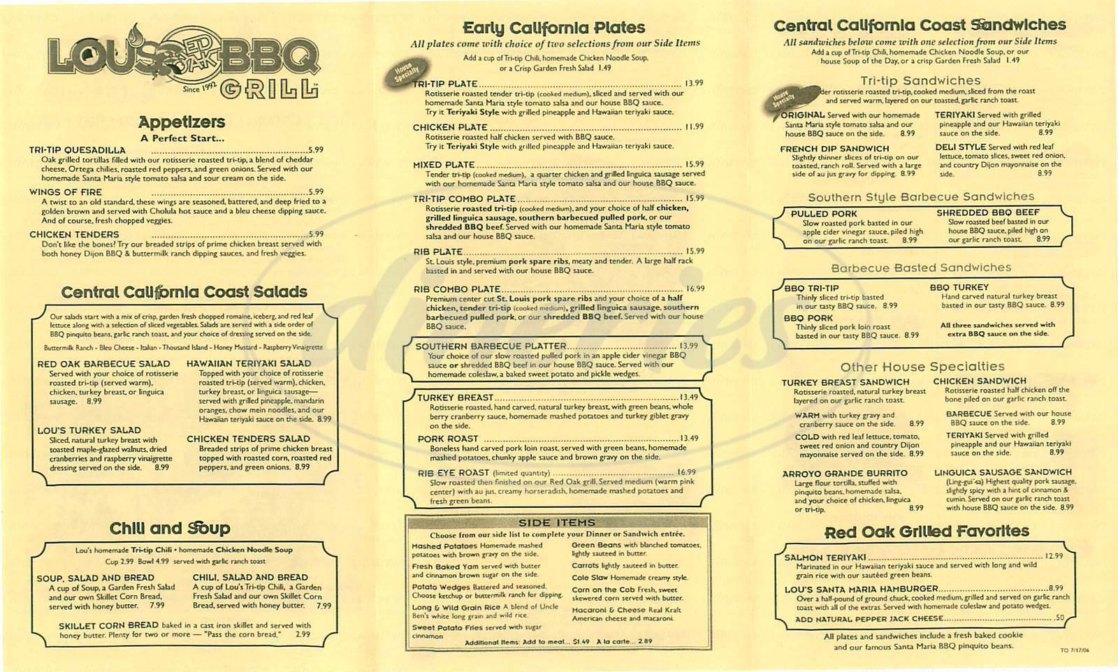 menu for Lous Oak Oven Barbecue