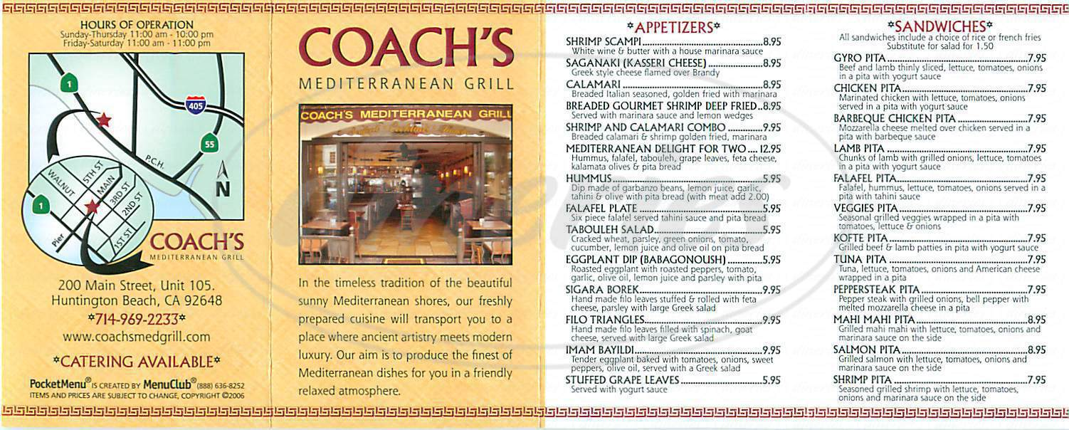 menu for Coach's Mediterranean Grill