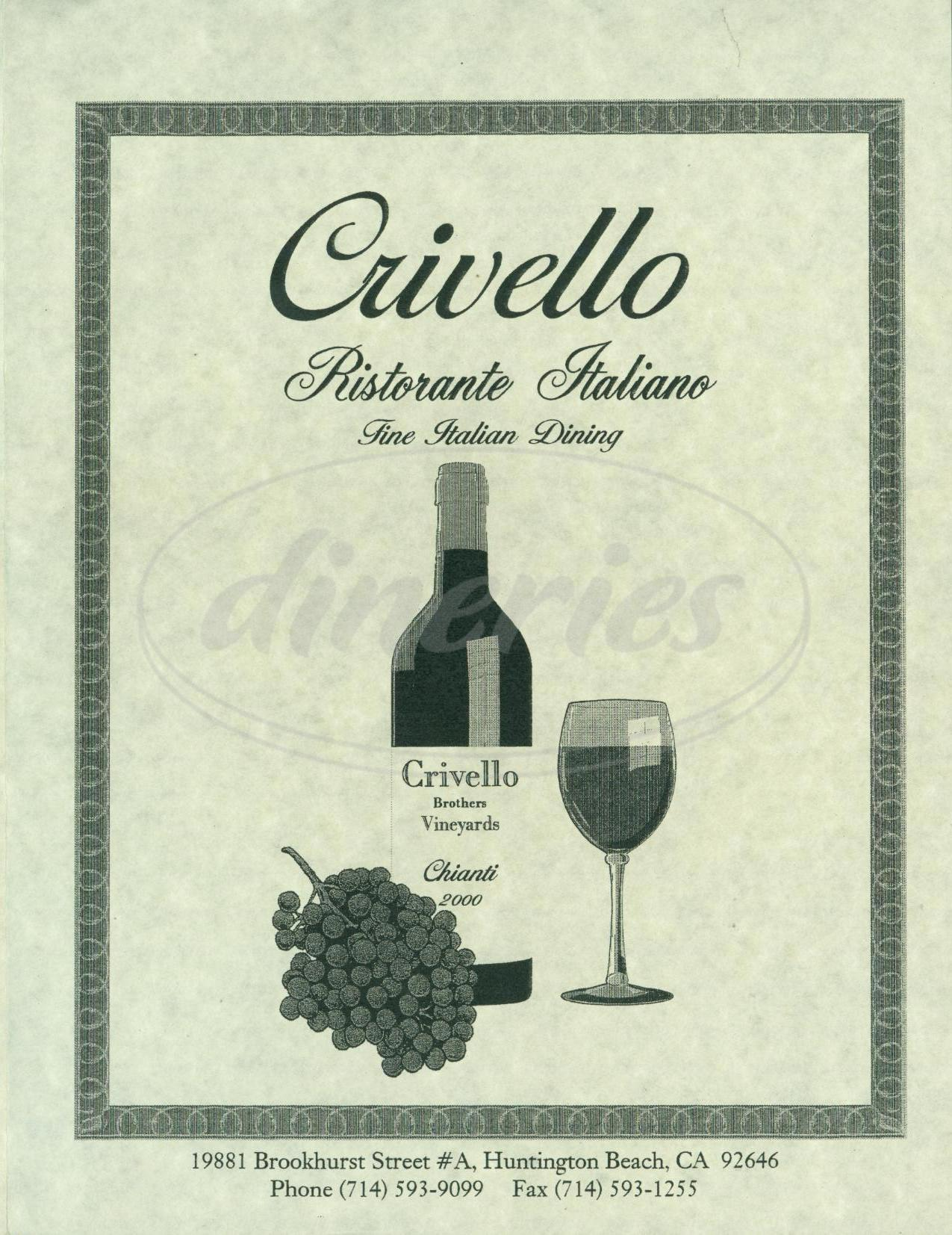menu for Crivello Ristorante Italiano