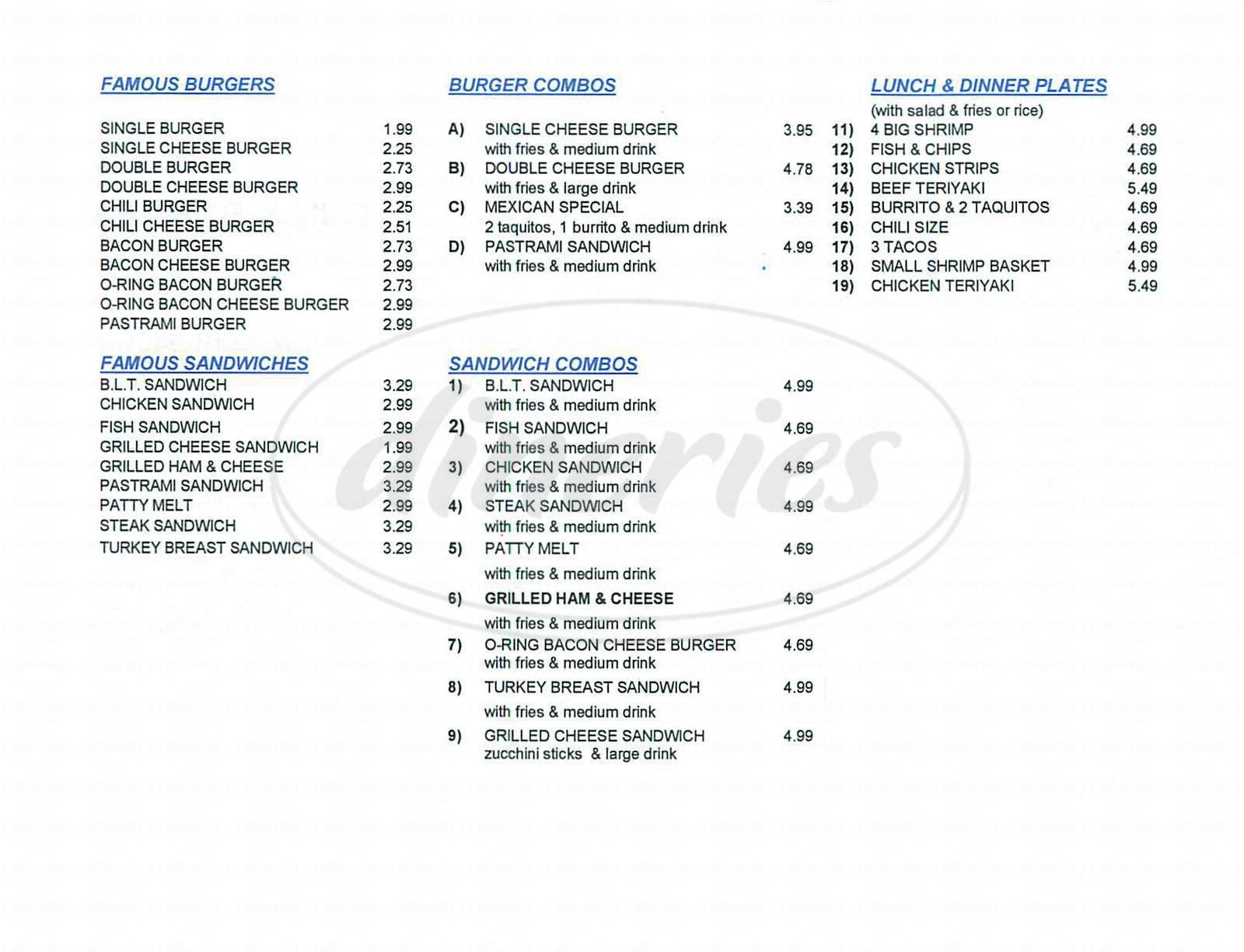 menu for Bun & Burger