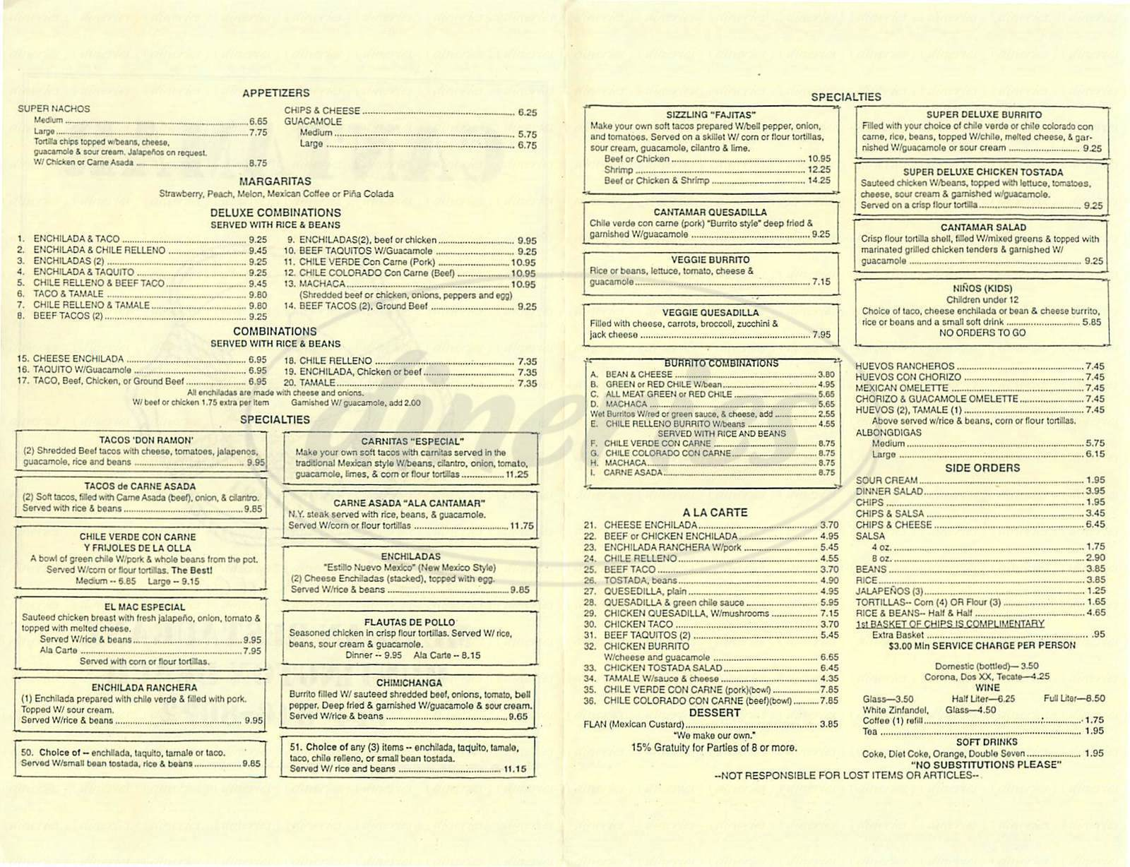 menu for Cantamar