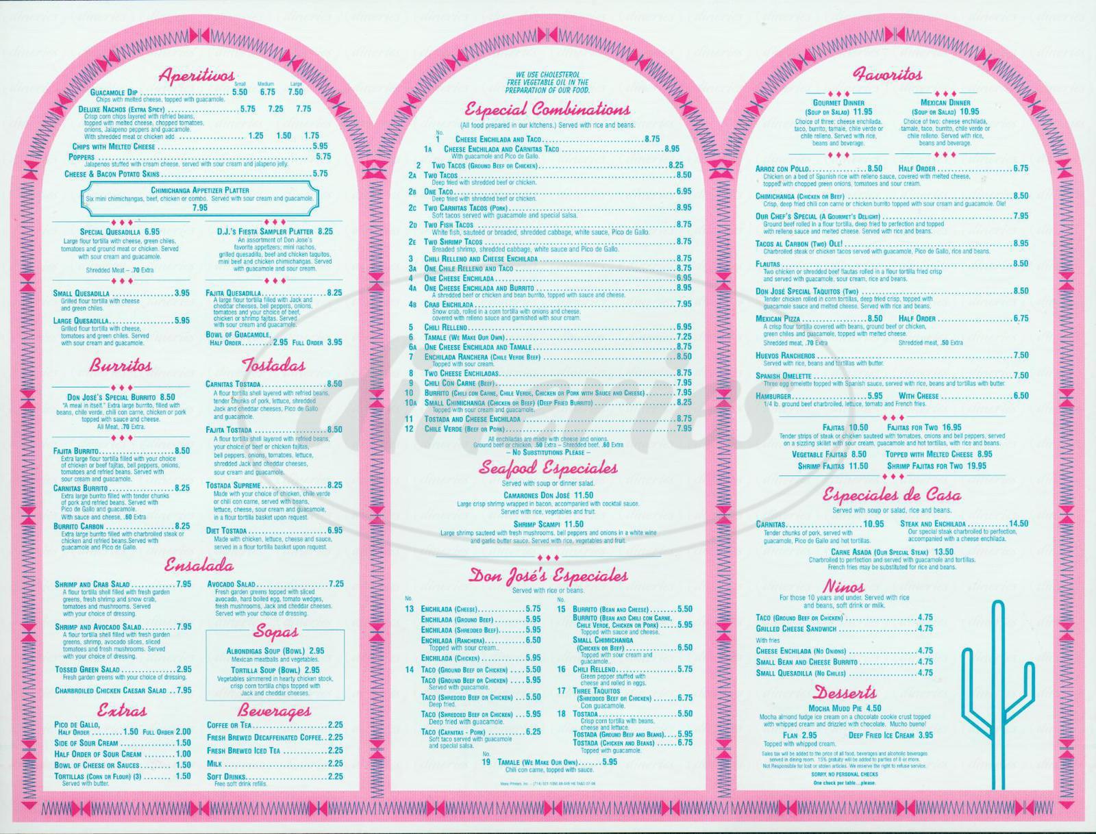menu for Don Jose