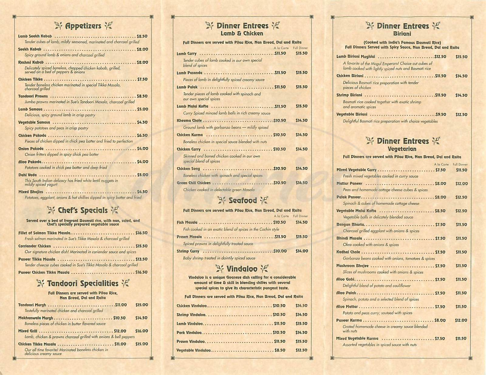 menu for Sues Indian Cuisine
