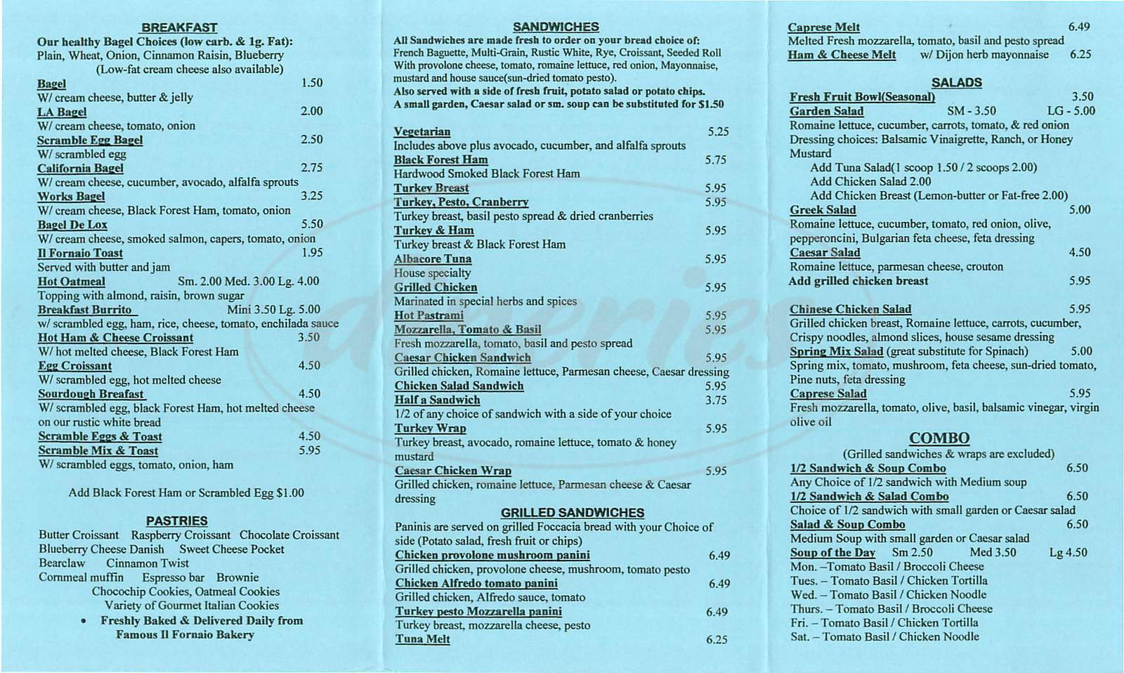 menu for Via Dolce