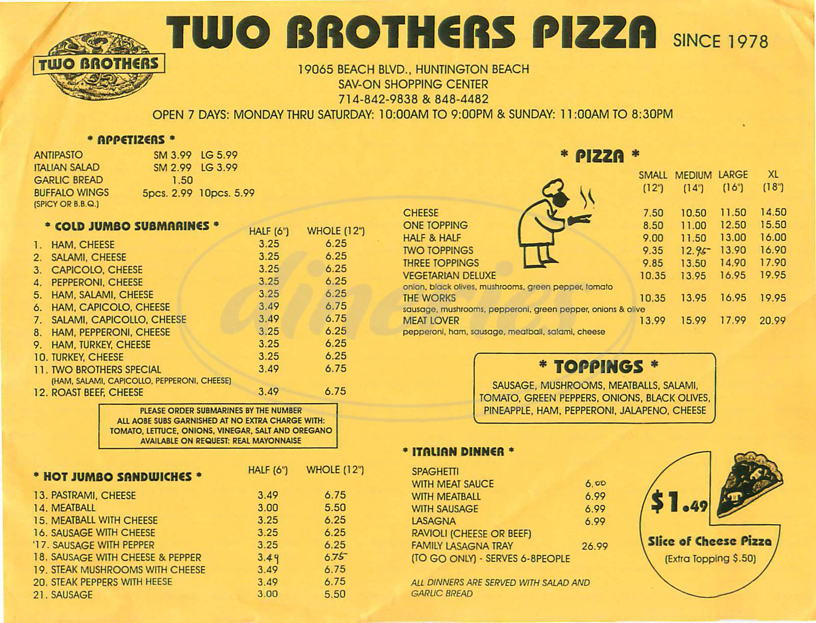 menu for Two Brothers Pizza