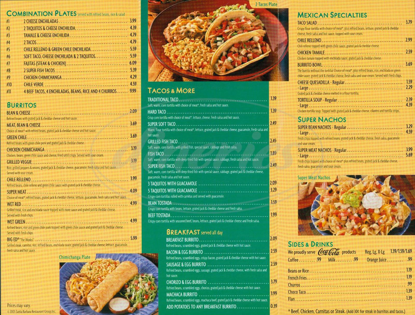 menu for Green Burrito