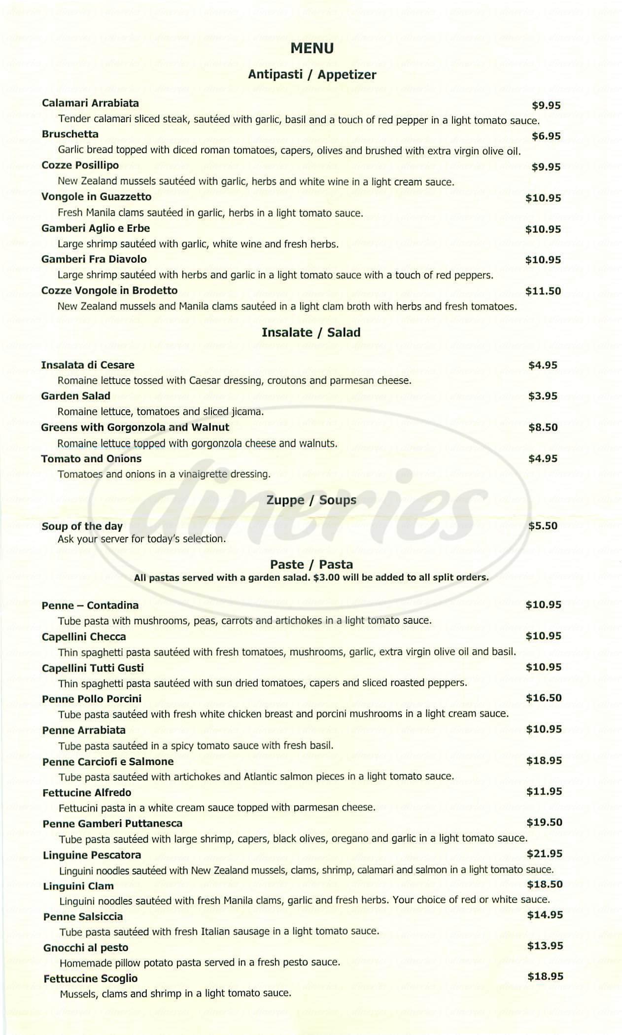 menu for Paolo's Ristorante