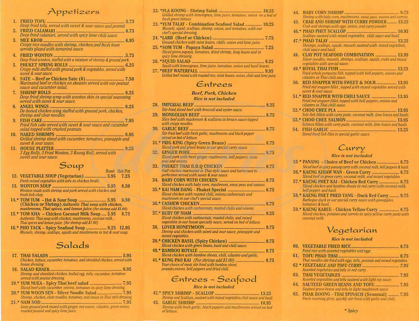 menu for Phuket Thai Restaurant
