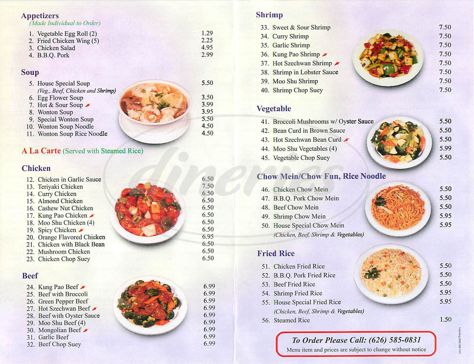 menu for Chinatown Express