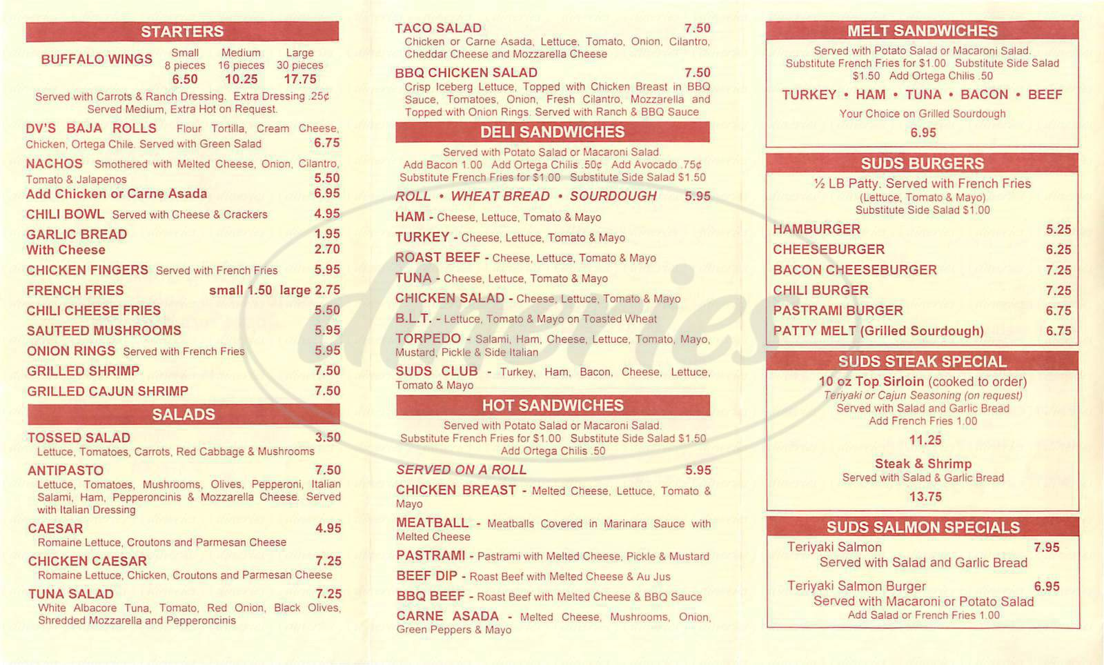 menu for Suds & Spirits Sports Grill