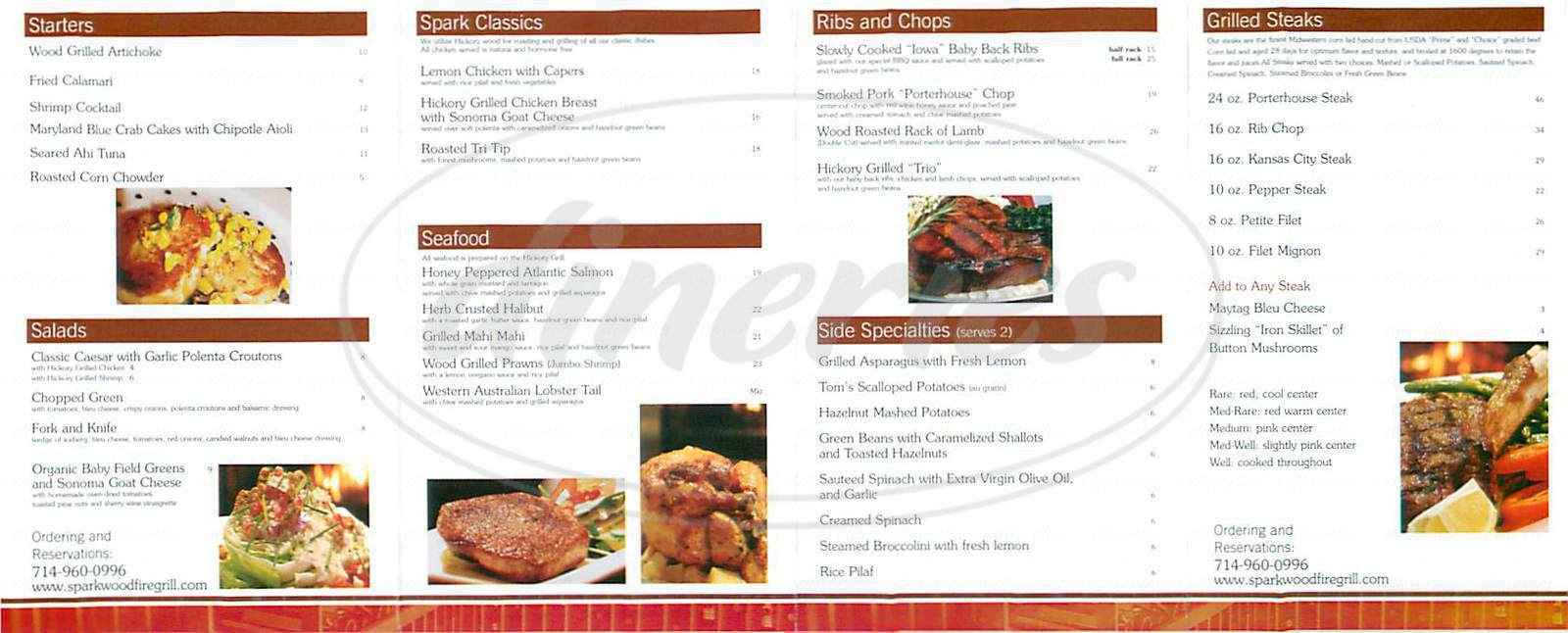 menu for Spark Woodfire Grill