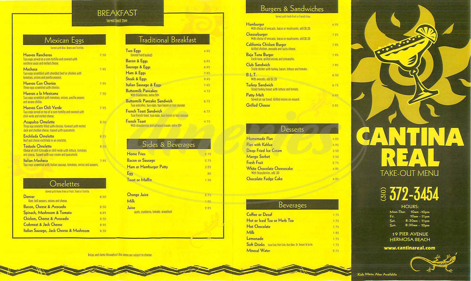 menu for Cantina Real