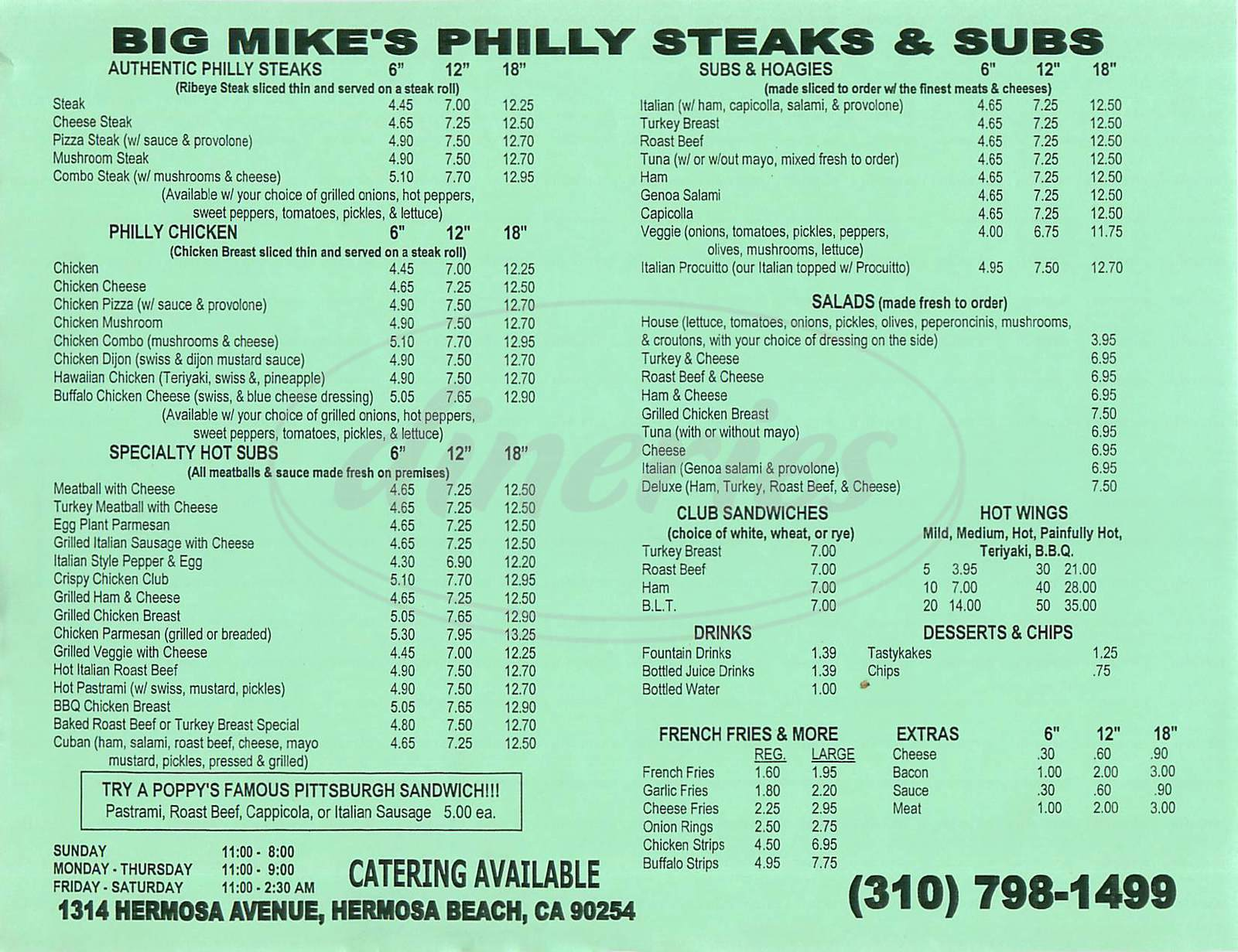menu for Big Mikes Philly Steaks & Subs