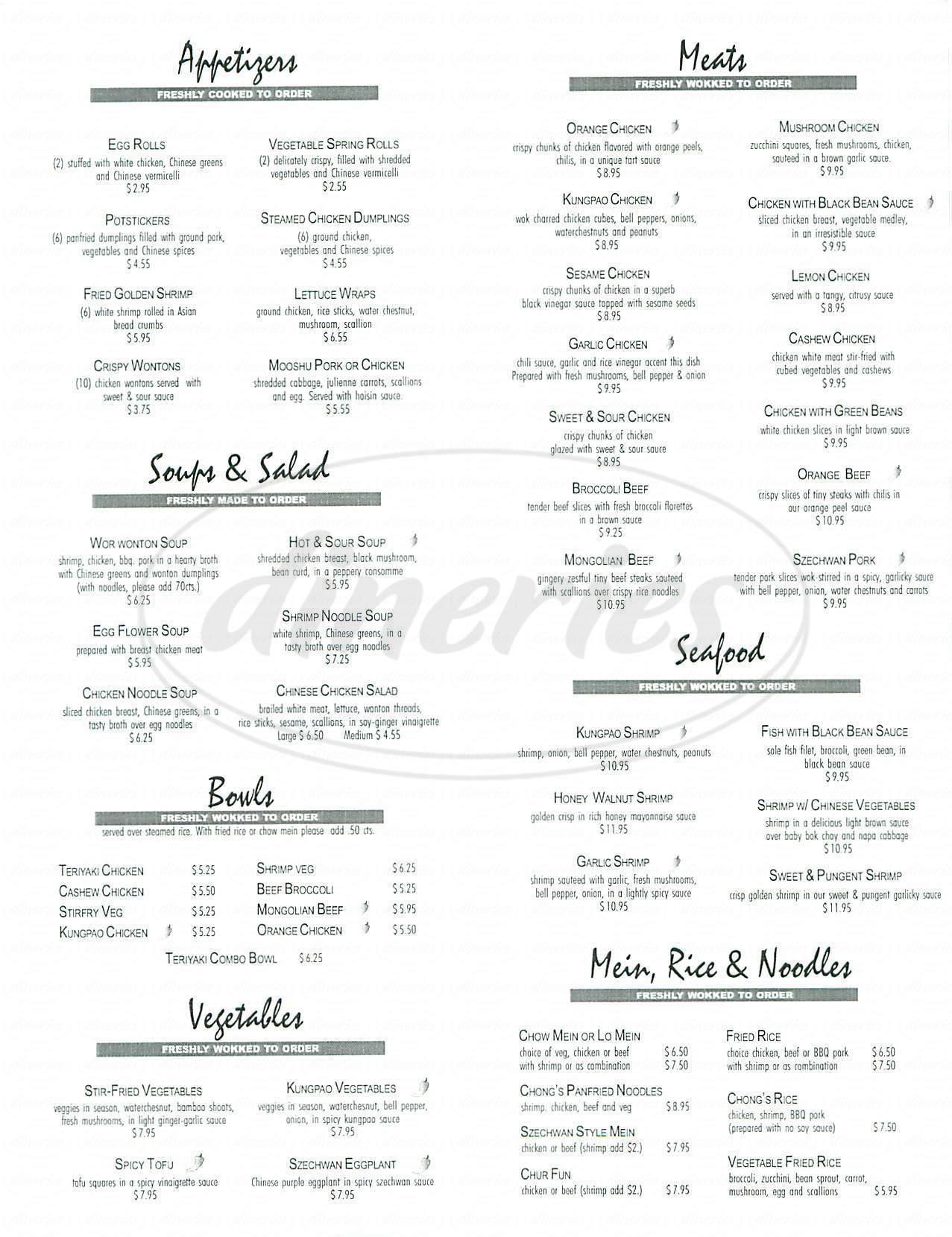 menu for Chongs Chinese Café