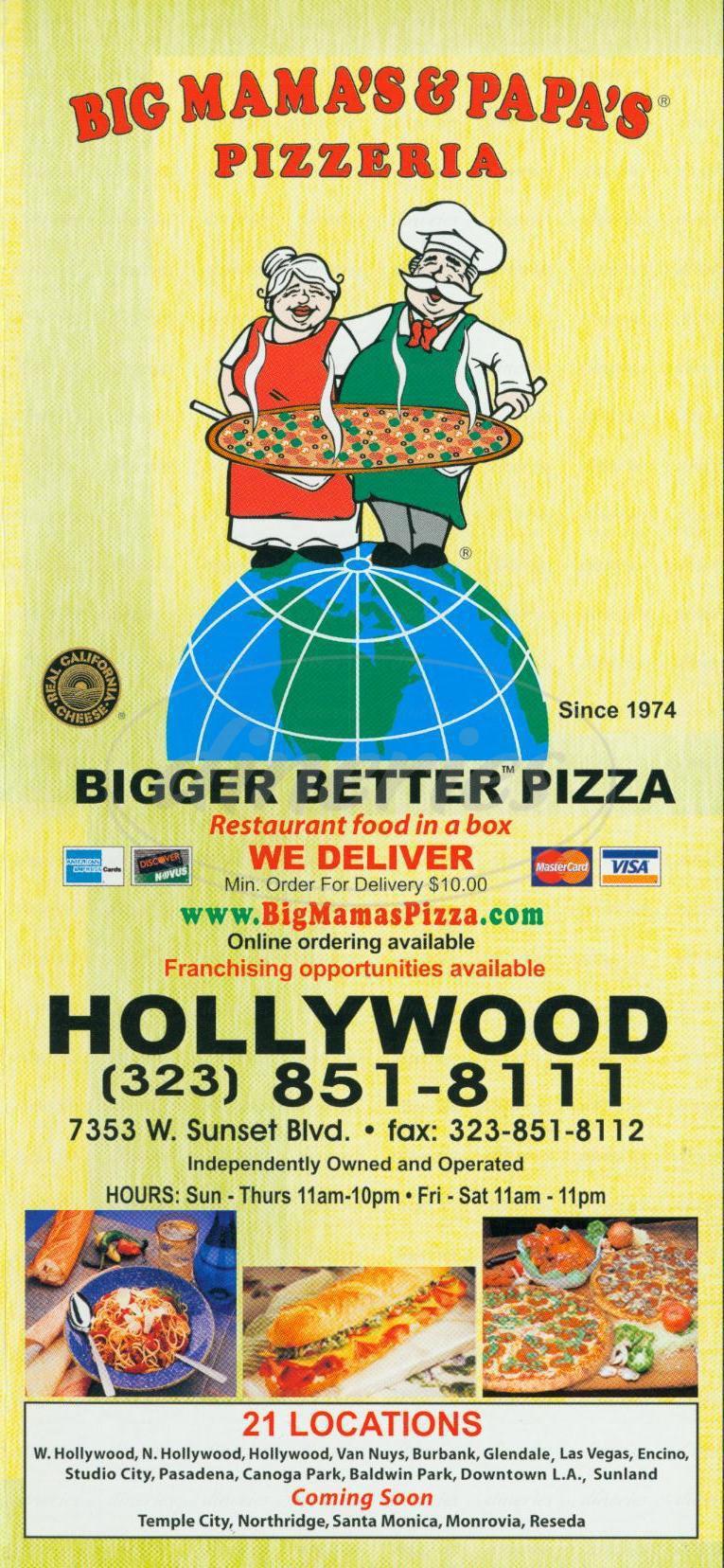 menu for Big Mamas & Papas Pizzeria