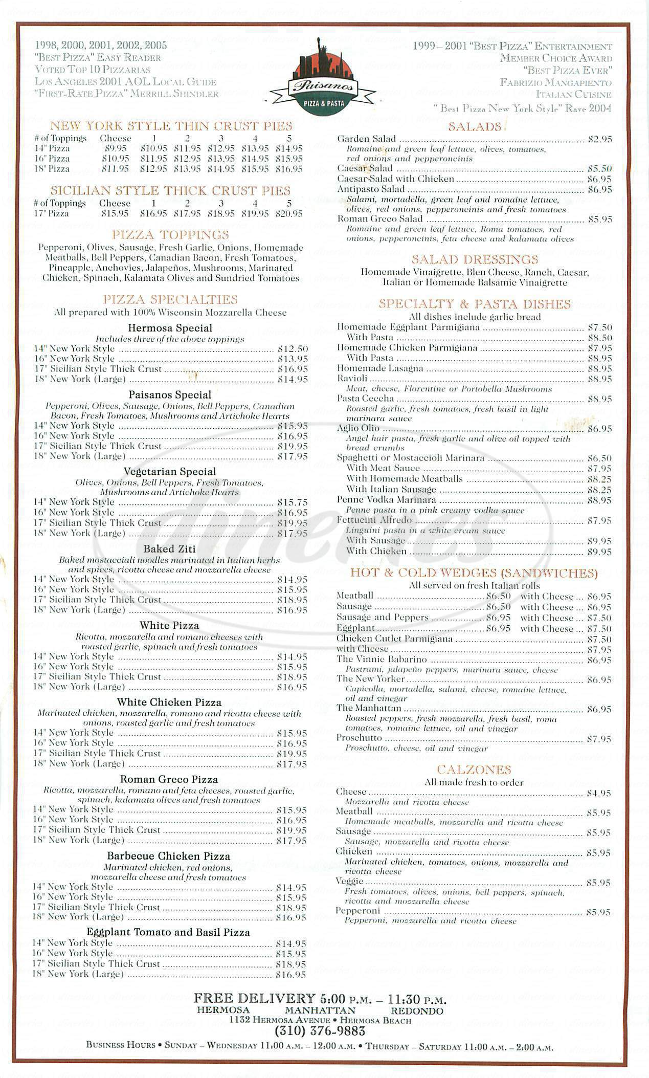 menu for Paisanos Pizza & Pasta