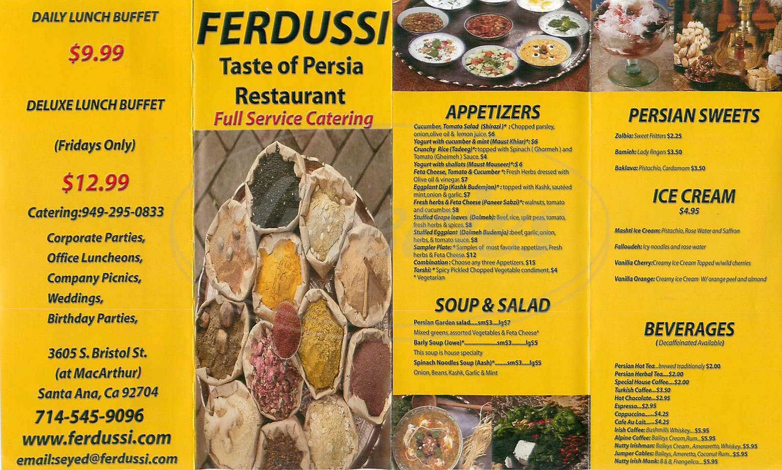 menu for Ferdussi Taste of Persia