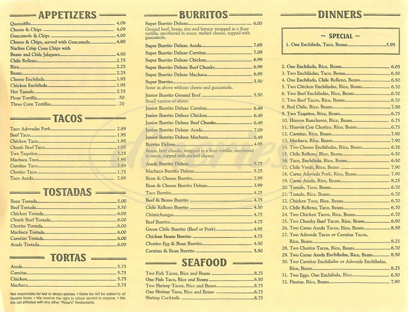 menu for Rosa's Restaurant