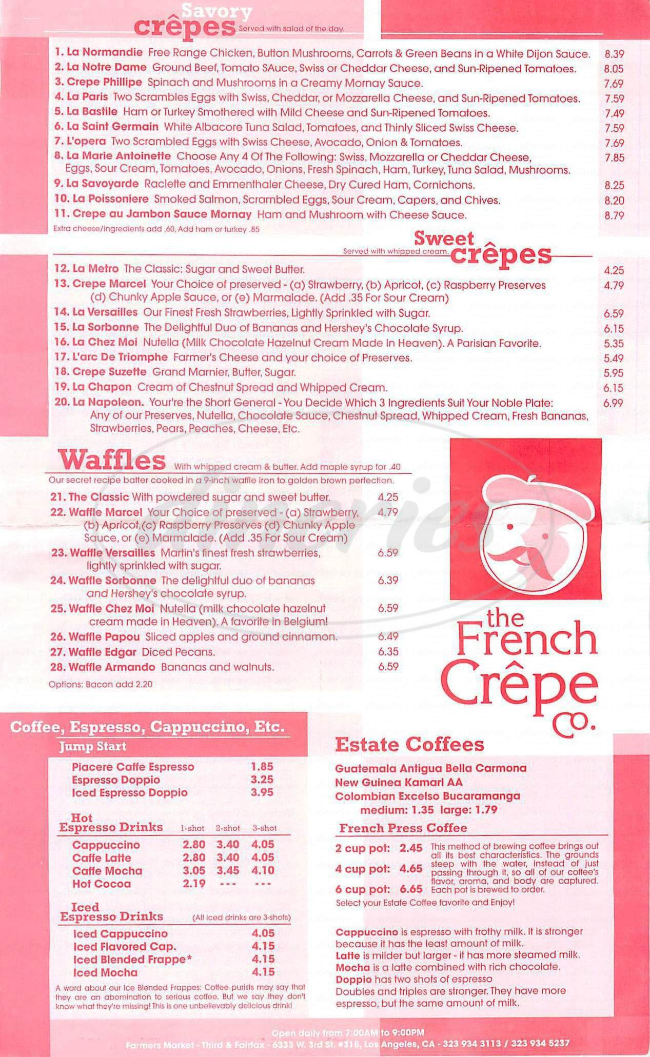 menu for French Crepe Company