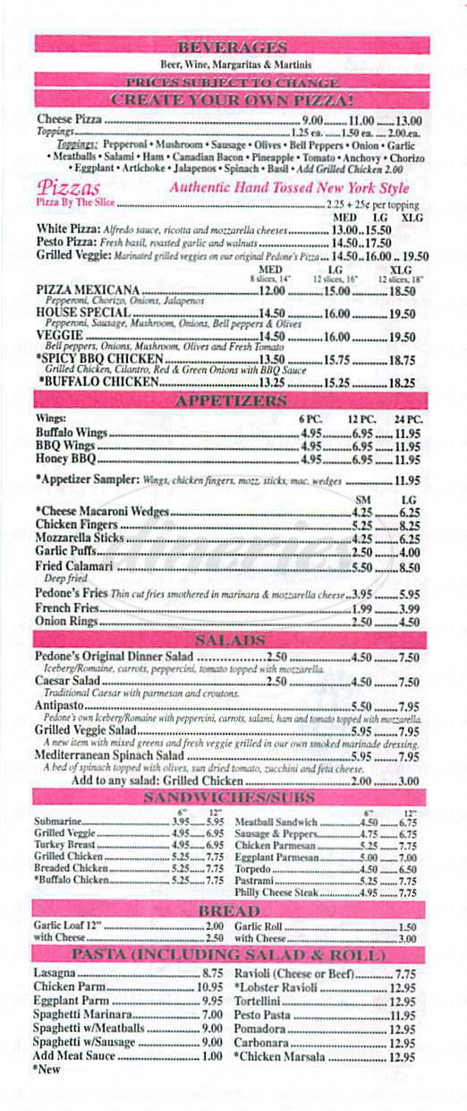 menu for Pedones Pizza & Fine Foods