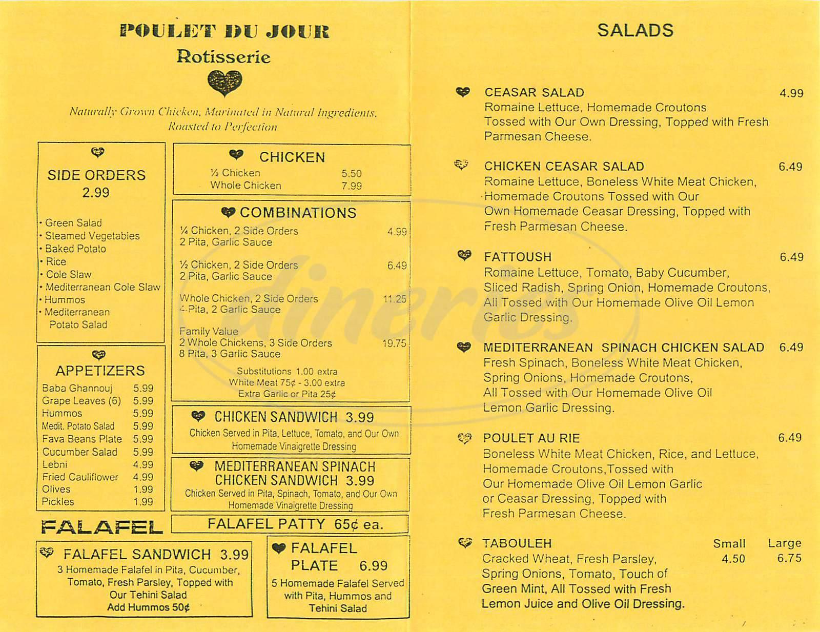 menu for Poutlet du Jour