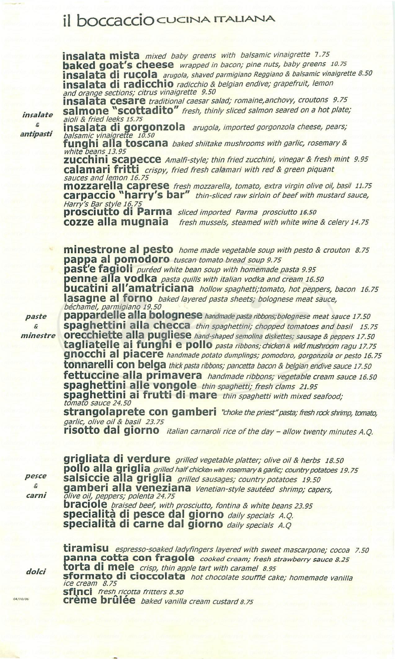 menu for Il Boccaccio