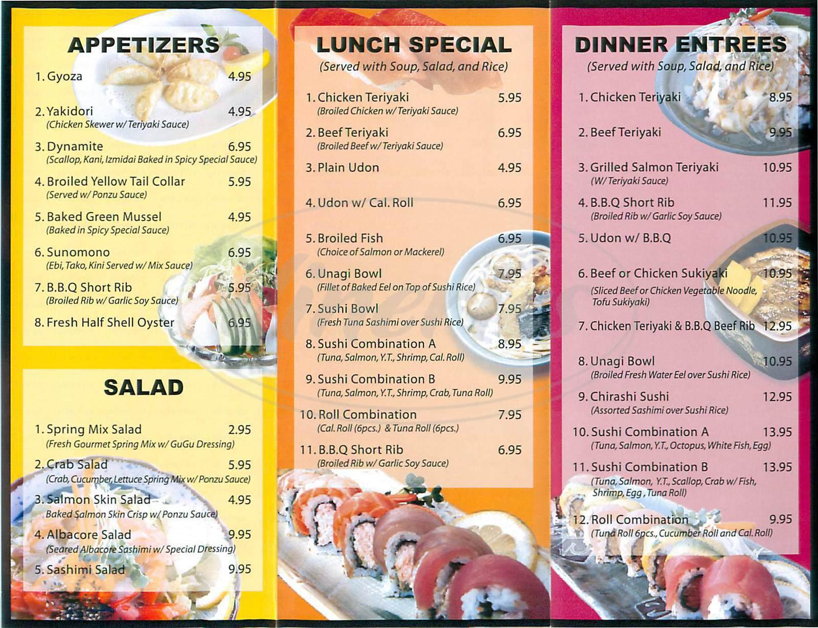 menu for Gu Gu Sushi and Roll