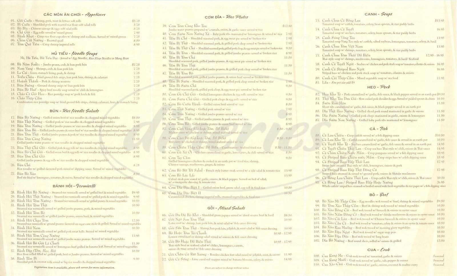 menu for Vung Tau Restaurant