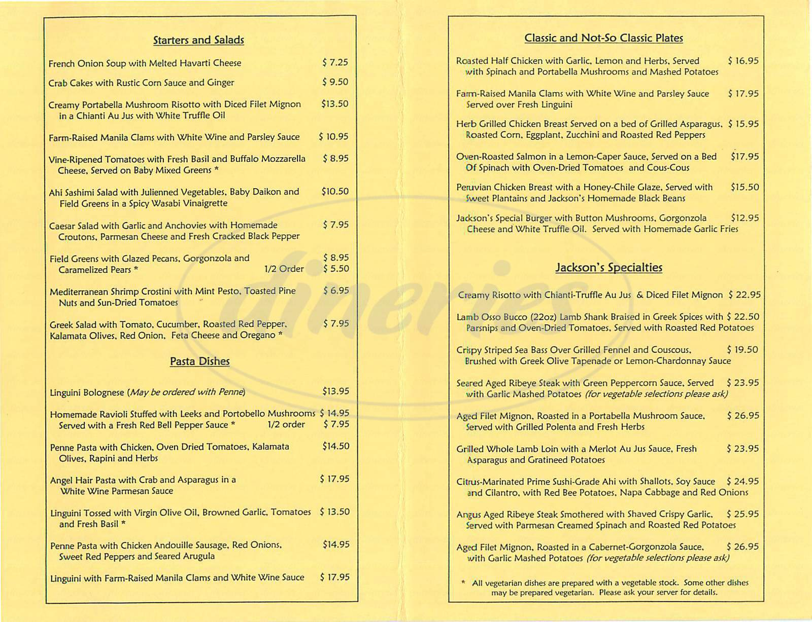 menu for Jackson's Village Bistro