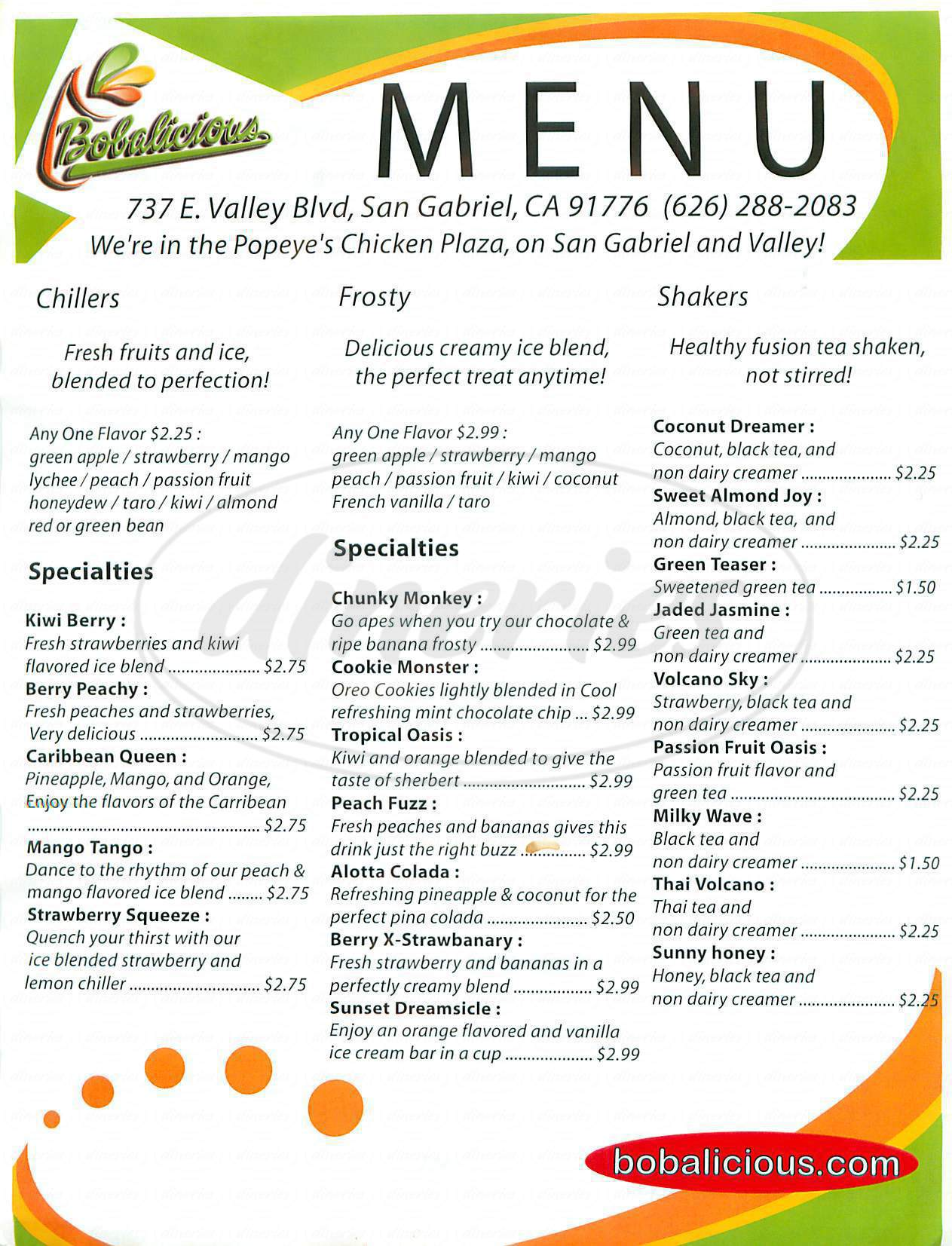 menu for Bobalicious