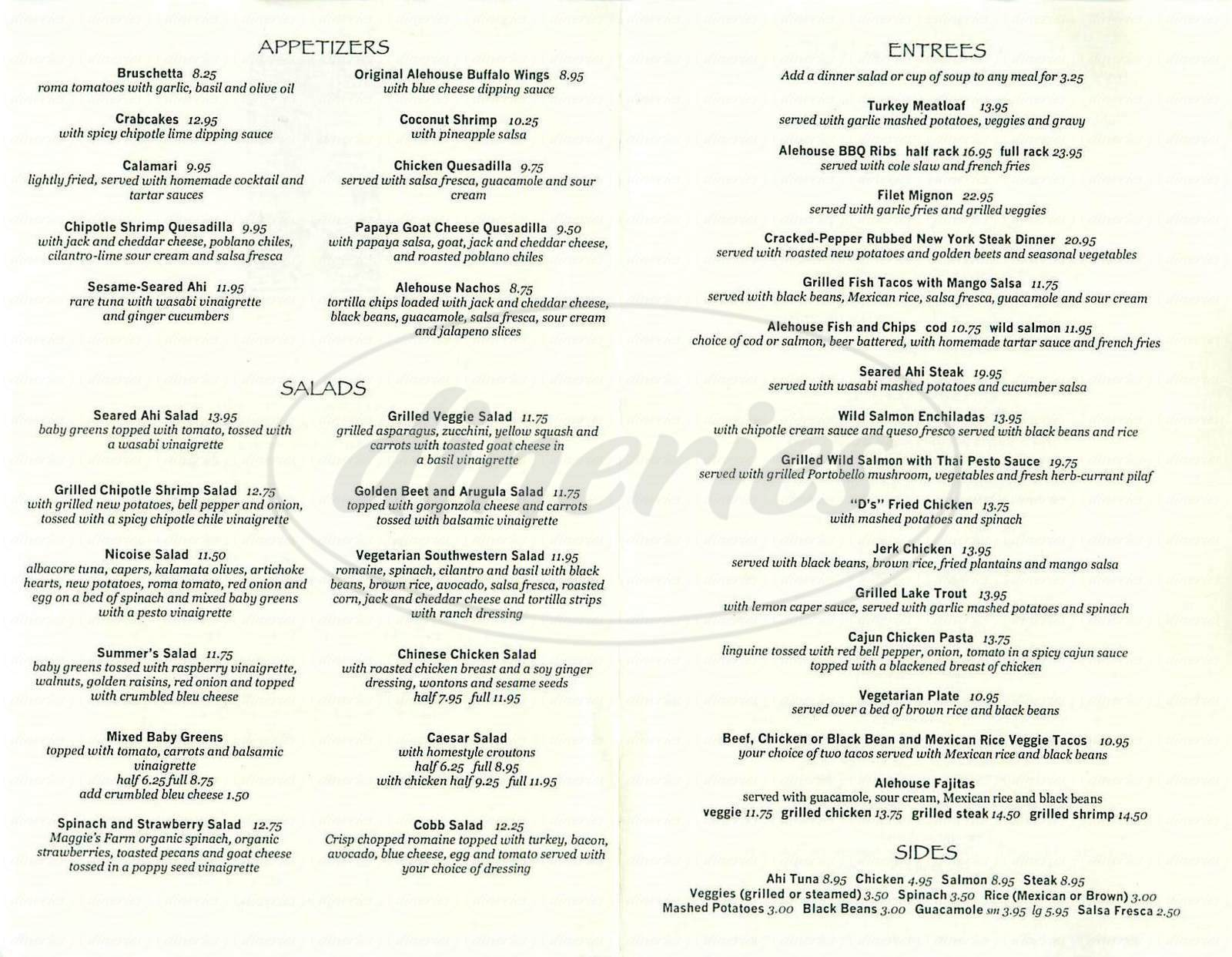 menu for Library Alehouse