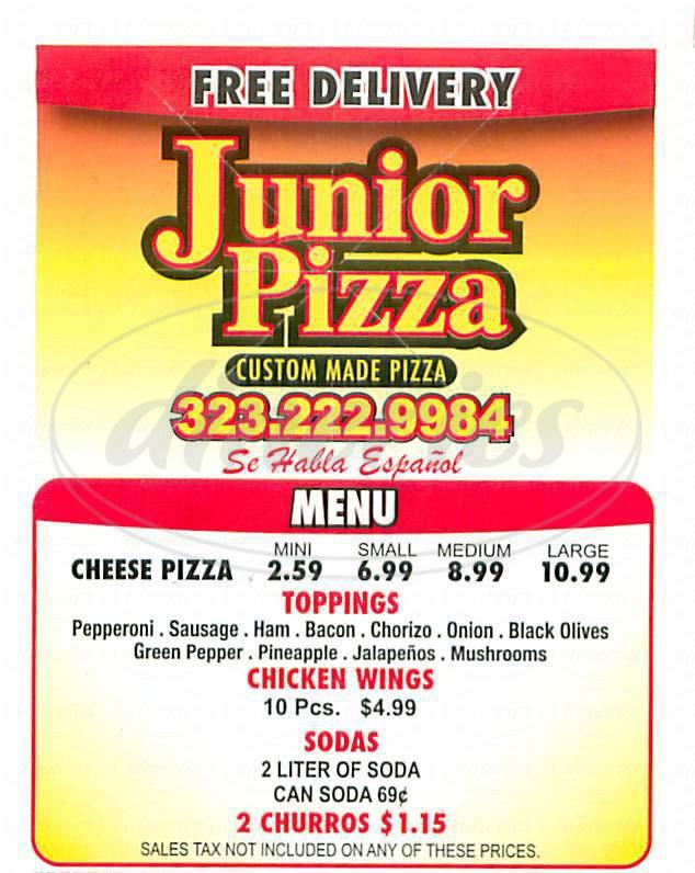 menu for Junior Pizza