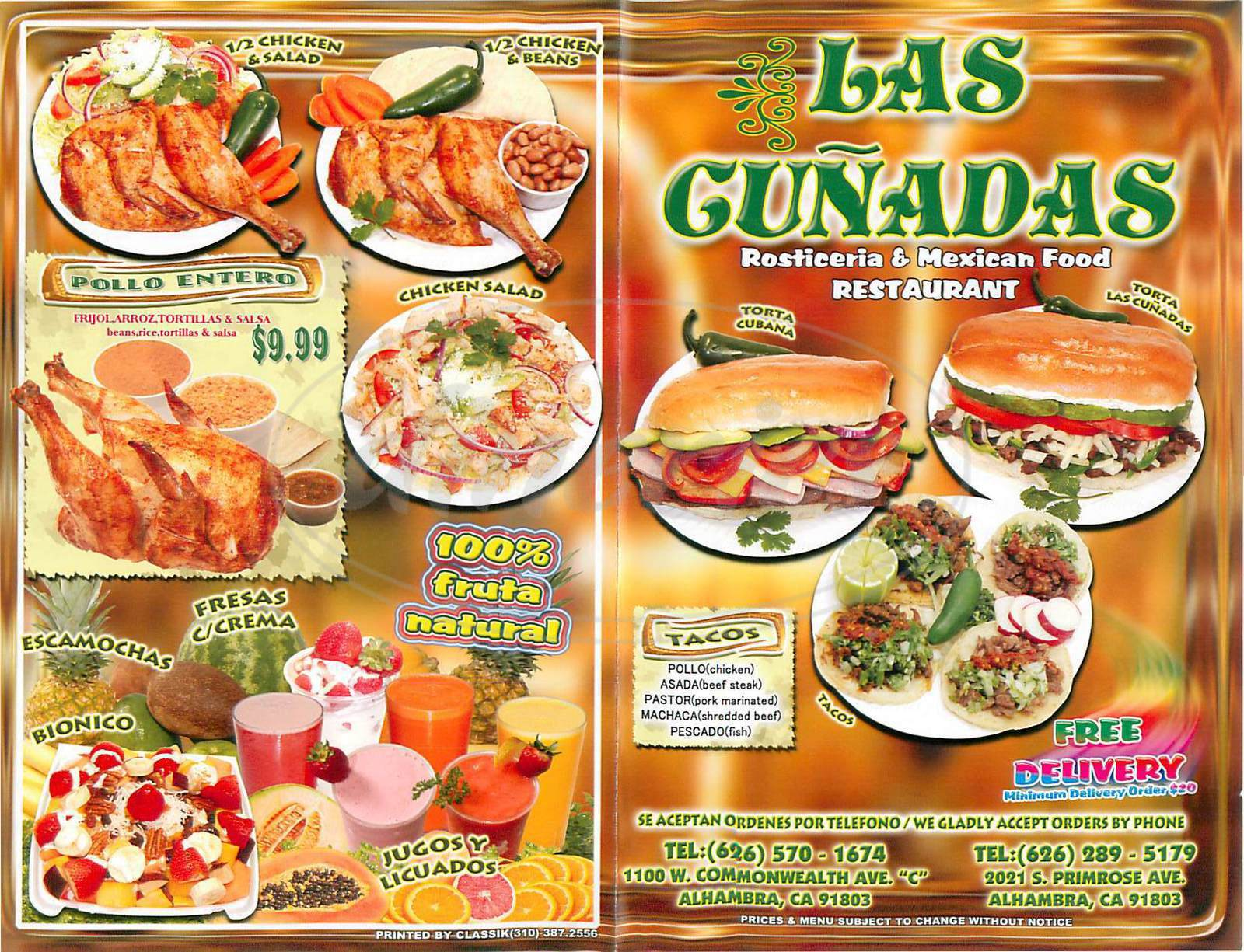 menu for Las Cunadas Restaurant