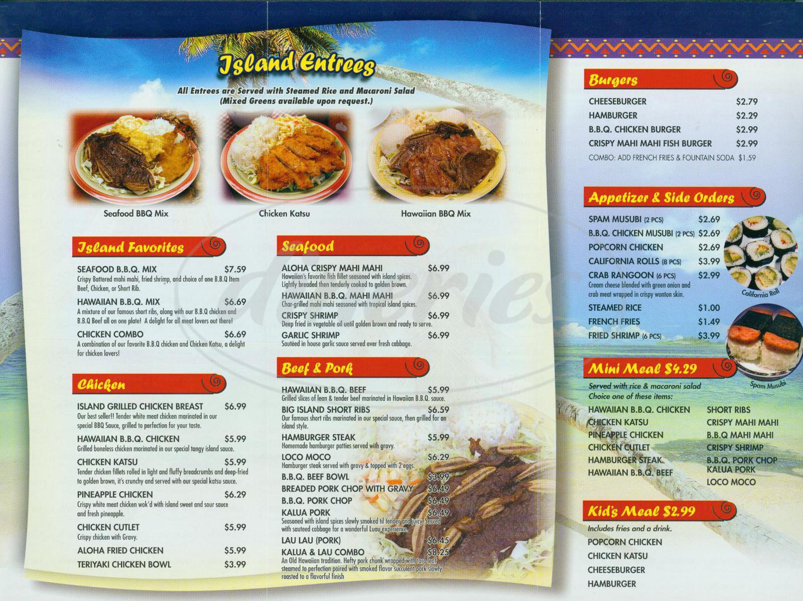 menu for Aloha Hawaiian Bbq