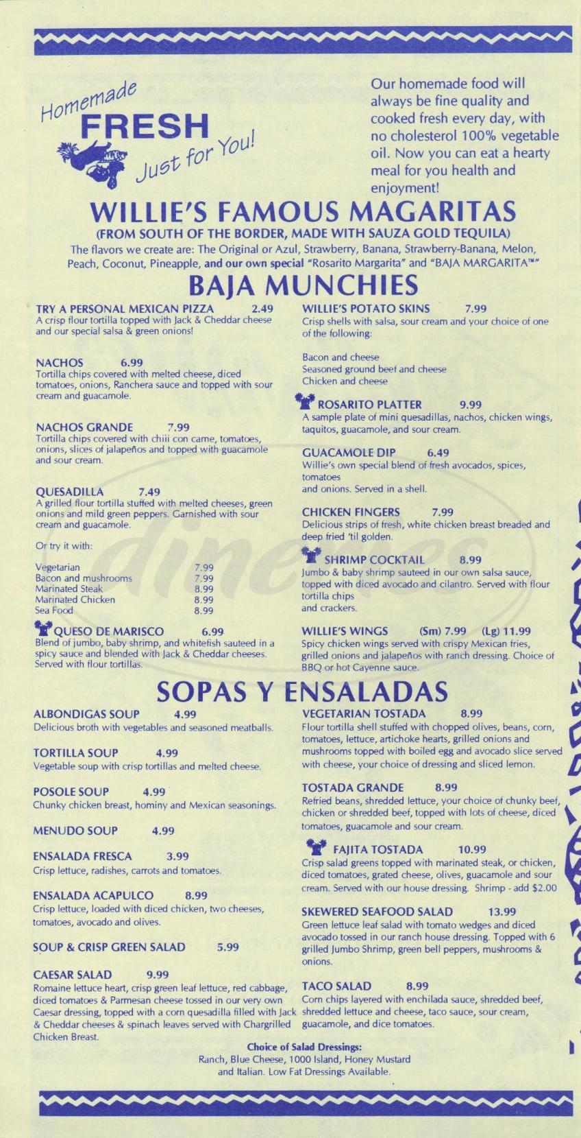 menu for Baja Willie's