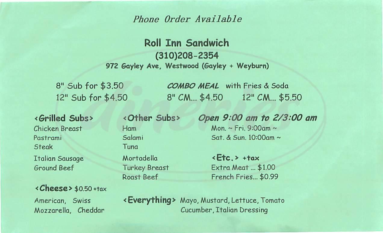 menu for Roll Inn