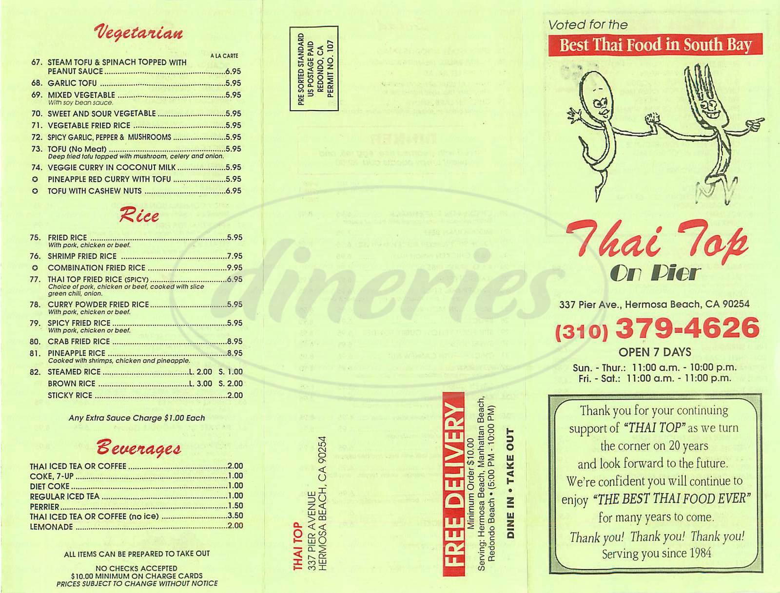 menu for Thai Top