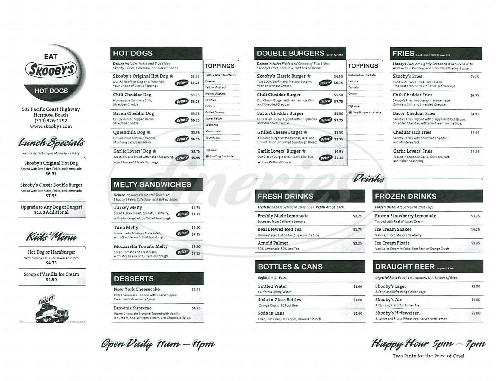 menu for Skooby's