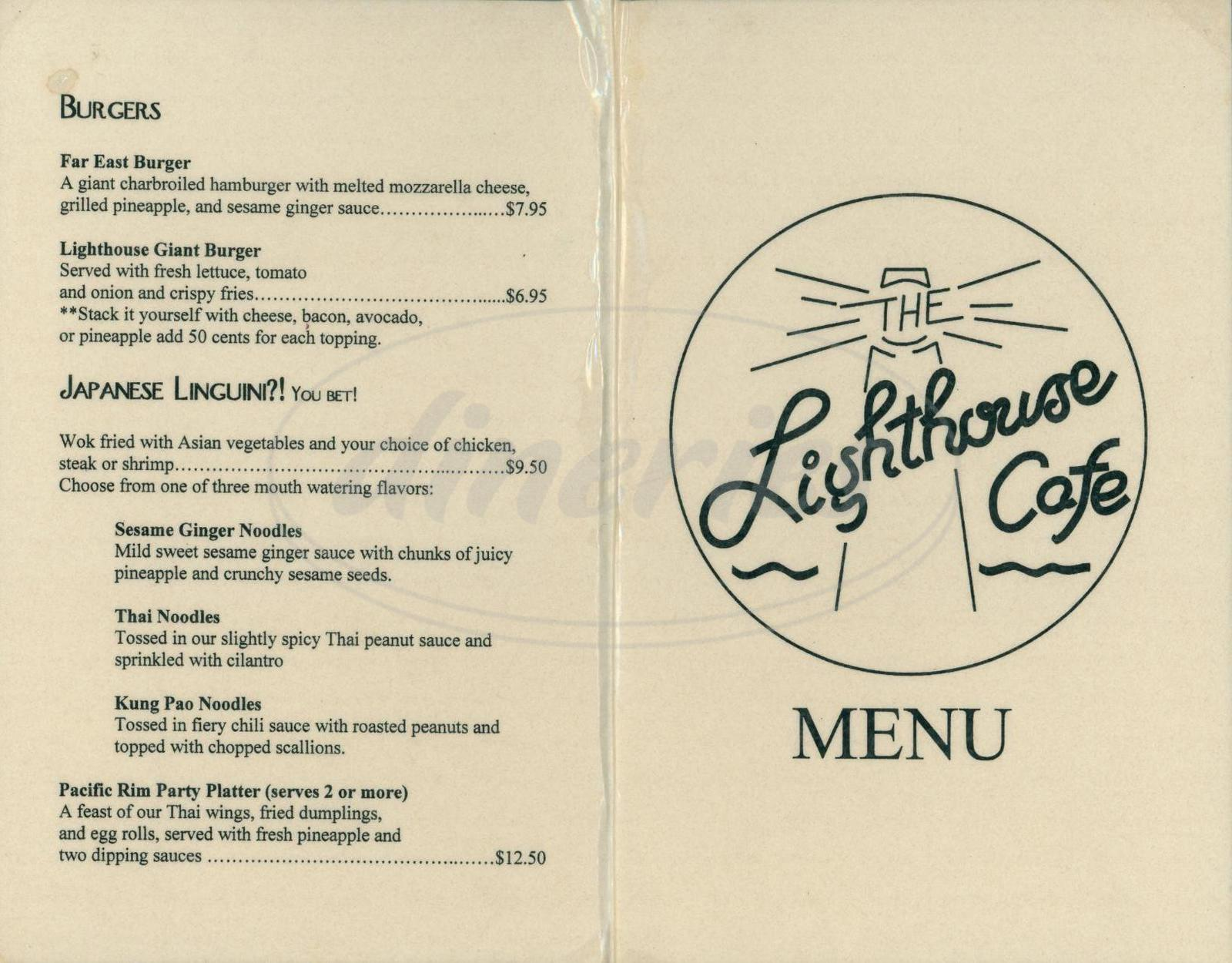 menu for The Lighthouse Cafe