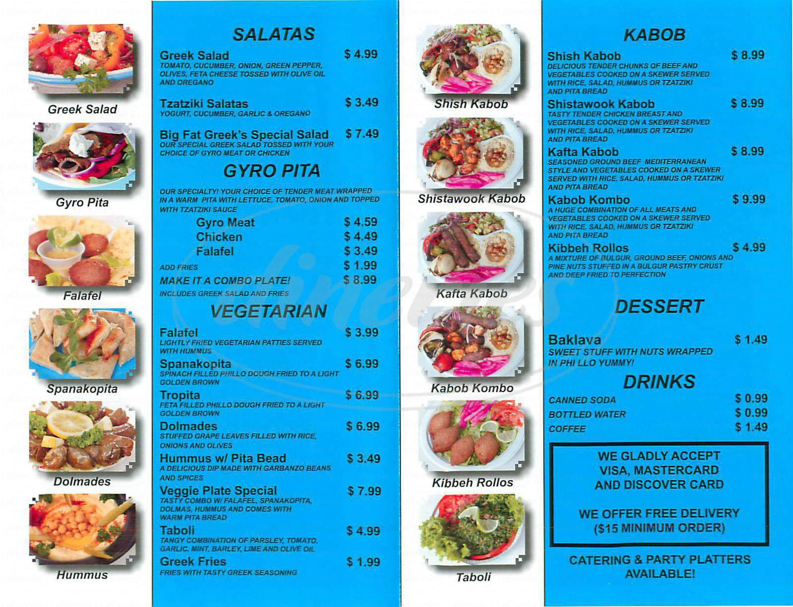 menu for Big Fat Greek Gyro