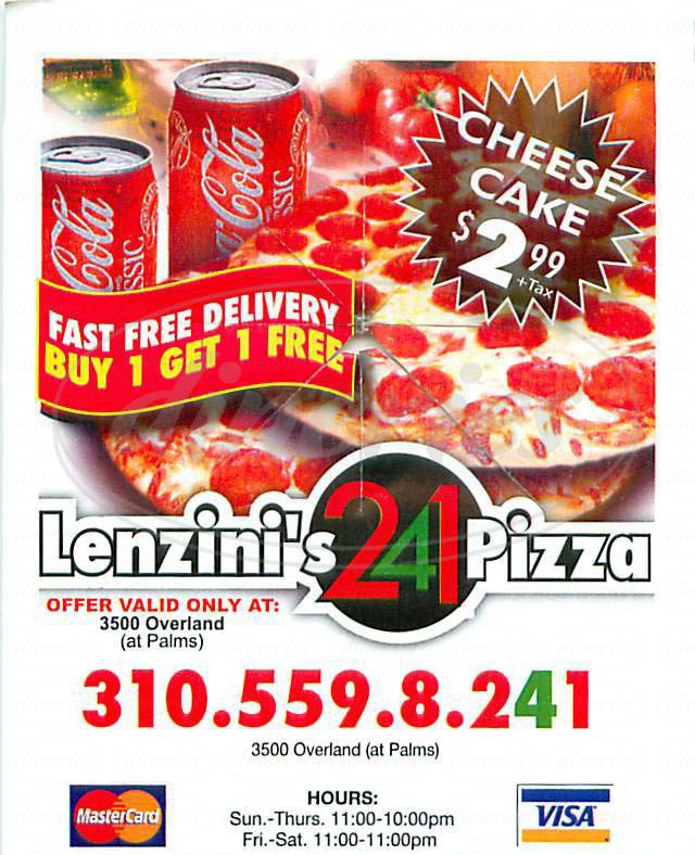 menu for Lenzini's 2 for 1 Pizza