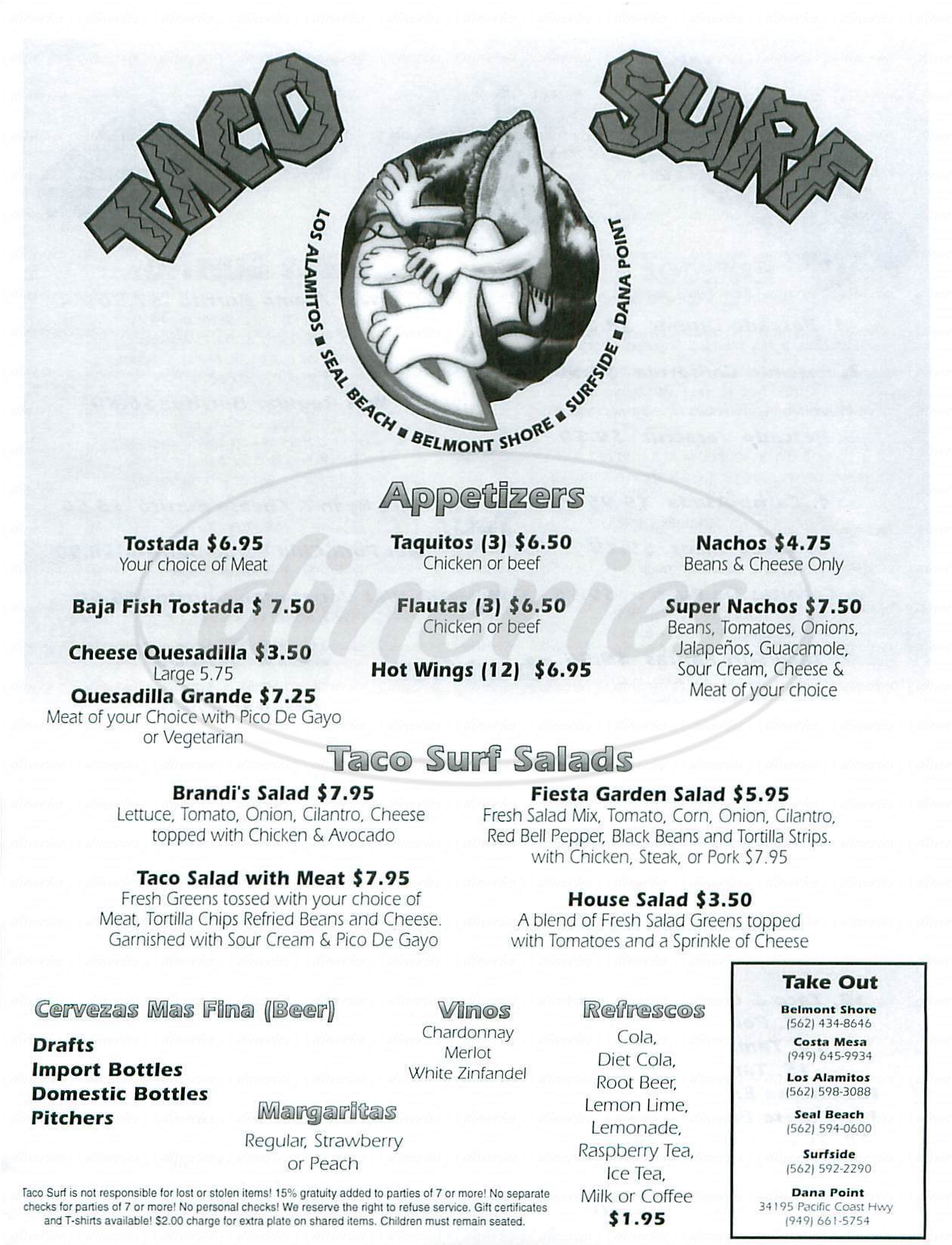 menu for Taco Surf