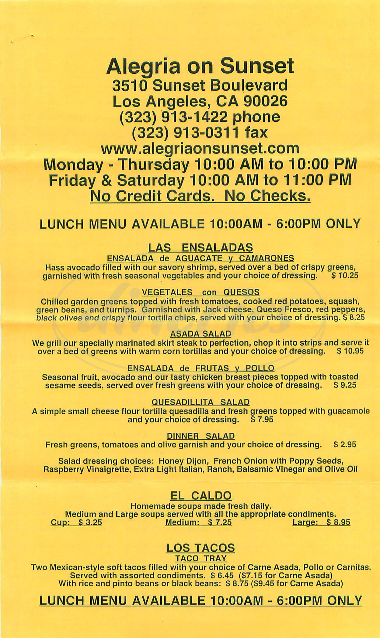 menu for Alegria Mexican Food