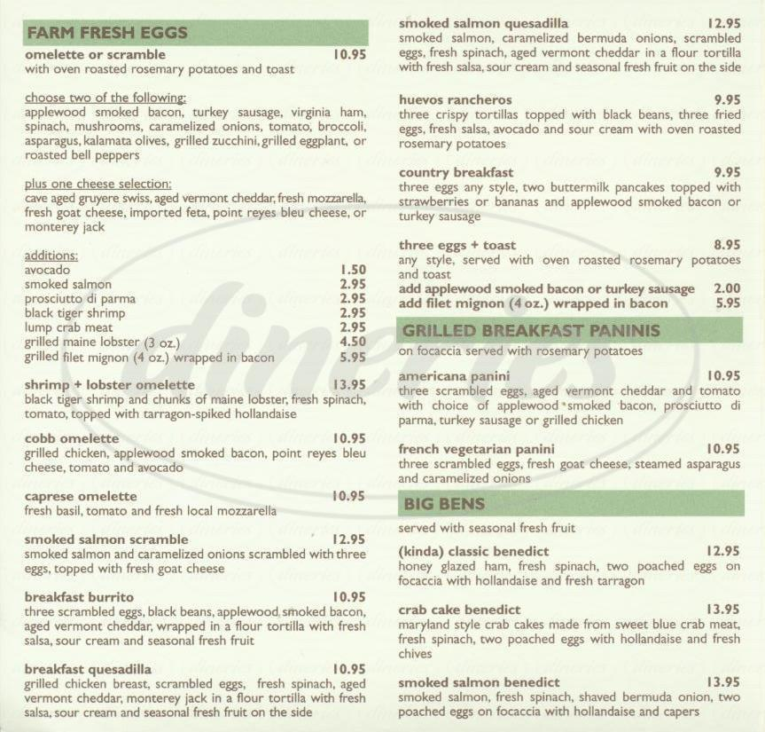 menu for Alcove Café and Bakery