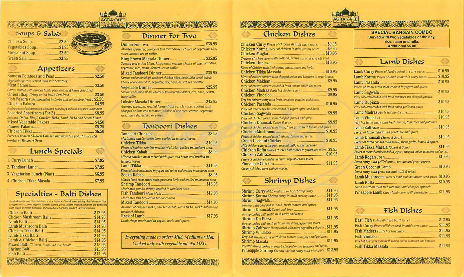 menu for Agra Café